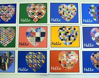 Antique Quilt Hearts 1830 - Present Set 1 & 2 - Notecards