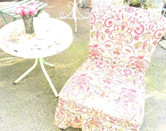 Vintage slipper chair with vintage fabric shabby chic victorian cottage chic
