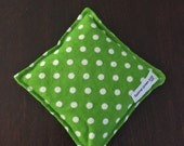 Owie bags, Ouchie Bags, Natural Hot/Cold Therapy Packs Flaxseed filled Green Polka Dots