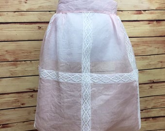 Vintage Sheer Pink White Lace Half Apron Trump Hostess 60s