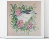 Night Heron and Peony Fine Art Giclee Print 12x12
