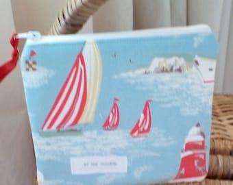 Handmade cath kidston seaside fabric makeup bag