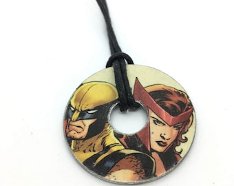 Upcycled Comic Book Washer Necklace Featuring - Wolverine and Scarlet Witch