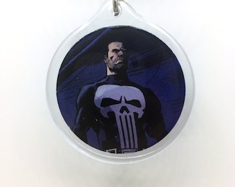 Upcycled Comic Book Keychain Featuring - Punisher