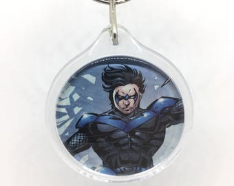 Upcycled Comic Book Keychain Featuring - Nightwing