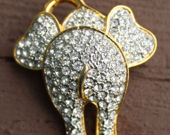 Cute Vintage Rhinestone Swarovski Crystal  Elephant BeHind Brooch Pin