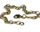 Antique brass bracelet - Cable Chain Bracelet - Antique Bronze Link Chain With Lobster Clasp - 20cm - 8 inches - (1846)