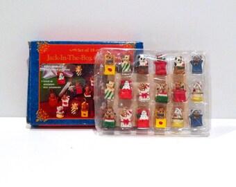 Jack In The Box Ornament Set (18) Vintage Miniature Christmas Tree Ornaments Teddy Bear Cat Panda Dog Gingerbread Man Hand Painted Polystone