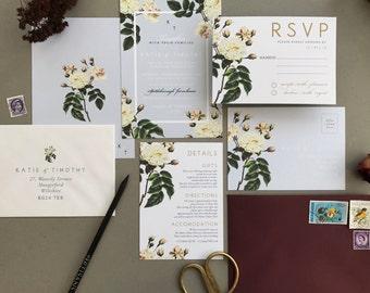 FRENCH GREY FLORA | Rustic Wedding Invitations, Wedding Invites, Wedding Invite, Blush and Rose Wedding Invitation Rustic - Sample Set