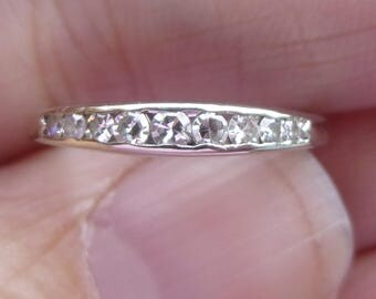 Art Deco   Diamond 14K Gold Wedding  Ring   Stacker band  15 points of   VS   H color diamonds