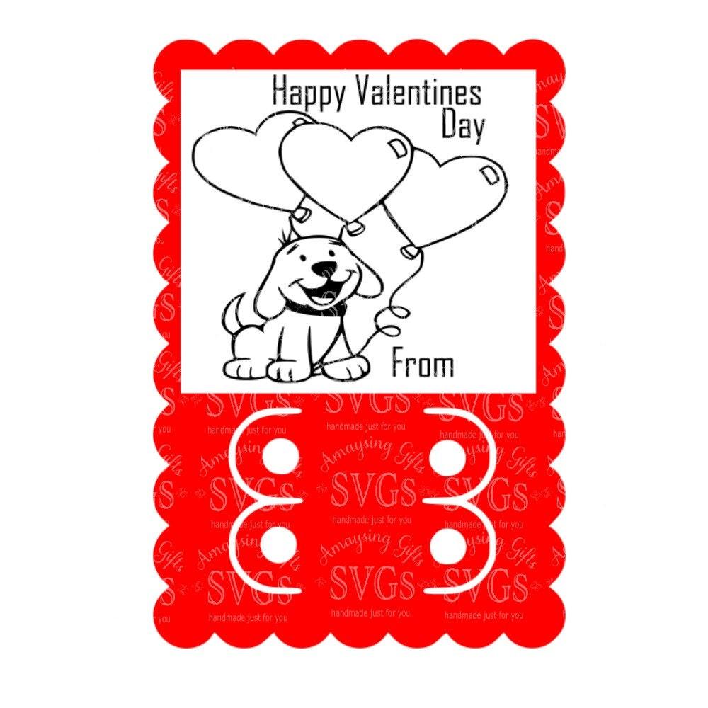SVG Puppy Valentine Crayon Card Crayon Card DXF