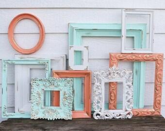 Set of 10 Open Frames - Mint, Coral, White - Wall Gallery - Nursery - Gold Wedding - Vintage Frames -Frame Set -Scatter Frames - Oval Frames