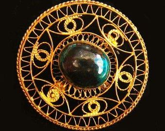 "Art Deco Cannetille Brooch Signed 950 Silver Green Stone Gold Filigree 1.5"" Vintage"