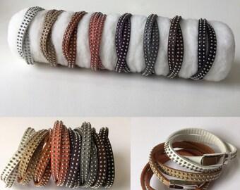 Leather Wrap Bracelet - Genuine Leather Studded Bracelet, Adjustable, Boho Wrap Bracelet