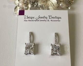 Emerald Cut Earrings, Bridal Earrings, Cubic Zirconia Earrings, Diamond Wedding Jewelry, Wedding Earrings