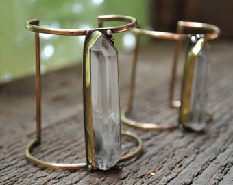 Ancient Astronaut Lemurian Seed Cuff Bracelet with Raw Crystal Point