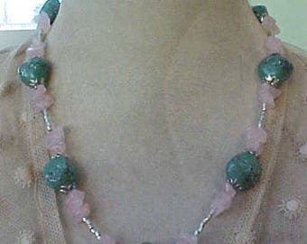 Pretty Necklace of Art Glass Beads in Soft Green and Rose Quartz
