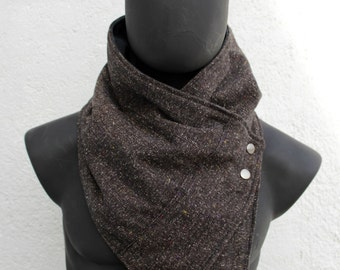 Vegan Scarf, Flecked dark brown with metalic snaps . Unisex. Men and women cowl, Modern and cozy. Mens winter. Husband gift. Father gift.
