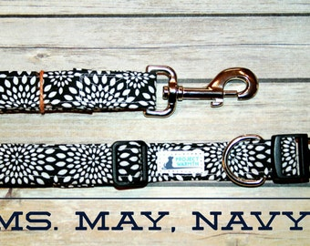 Ms. May, Navy Collateral, Collar and Leash Set