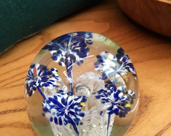 Large vintage glass paperweight