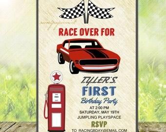 Race Car Birthday Party Invitation - Vintage -  Digital Printable Card