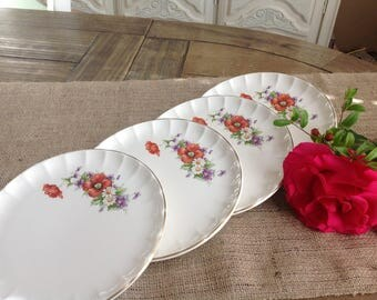 Set of 4 pretty Floral Shabby Chic Dessert plates or small Luncheon Plates