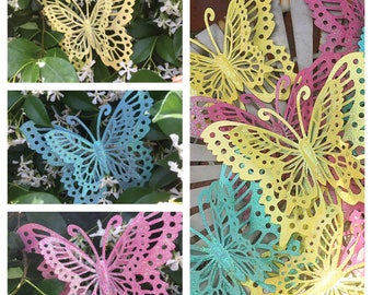 metal Butterflies, LARGE Butterfly wall hanging, butterfly home decor, Fairy party decor, 3D butterflies,  ( 8 pieces)