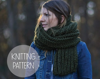 knitting pattern fishermans rib long open scarf - the rapids open scarf