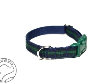 "Blackwatch Tartan Small Dog Collar - Thin Dog Collar - 1/2"" (12mm) Wide - Navy and Green Plaid - Choice of style and size"