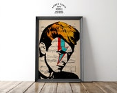 Star Man David Bowie Tribute Art Original Print on Unframed Upcycled Bookpaper