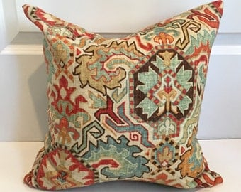 Red, Blue, Brown, Gold and Ivory Damask Pillow Covers in Richloom Madrid Persia