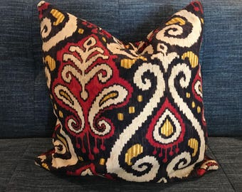 IN STOCK / Black, Red, Yellow and Ivory Ikat Pillow Covers in Designer Upholstery