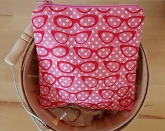 Reusable snack bag - washable snack bag - pink eyeglasses - catch all bag - zipper bag