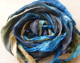 10 hand dyed silk ribbons approx 1m each mix of texture/colour - FR45