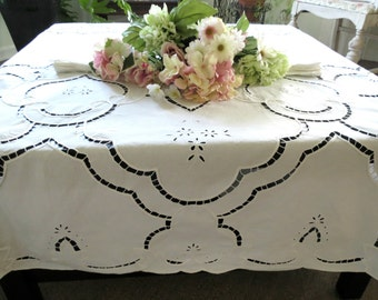 Large Oval Tablecloth w Cutwork Embroidery, 12 Matching Dinner Napkins, Cotton Lace Tablecloth 98 x 68 Vintage Linens by TheSweetBasilShoppe