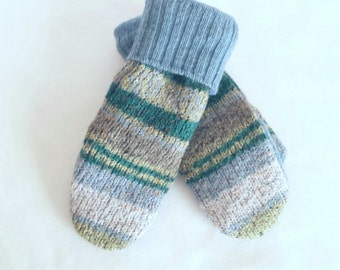 Sweater Mittens ~ Felted Sweater Mittens ~ Recycled Sweater Mittens ~  Fleece Lined  Mittens ~ Women's  Mitten