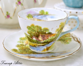 ON SALE Shelley Teacup And Saucer Set Old Mill, English Bone China Tea Cup Set, ca. 1945-1966