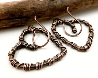 Wire Wrapped Earrings Copper Heart Earrings Wire Wrapped Jewelry Handmade Jewelry Heart Jewelry Oxidized Copper Earrings Wire Wrapped Heart