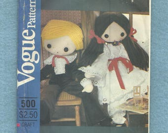 Vintage 1980s Vogue 500 Girl & Boy Lace Trimmed Doll Clothes ONLY Pattern For Dolls Size 32 inches Tall