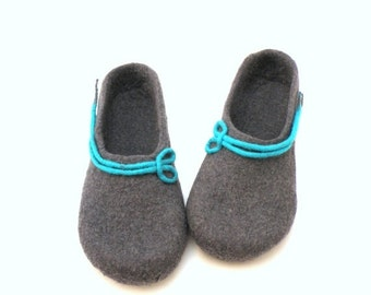 Women felted slippers -  handmade wool clogs - grey turqoise felt slipper - made to order - autumn winter fashion - Valentines gift