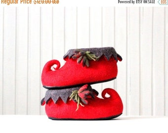 Fairy elf shoes - women slippers - felted wool slippers - red grey house shoes - made to order - Mothers day gift  gift for her - wool shoes