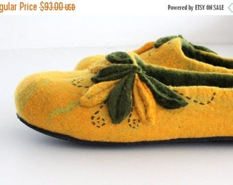 Felted women slippers - yellow and green felt slippers from soft merino wool - made to order- Mothers day gift - gift for her - home shoes