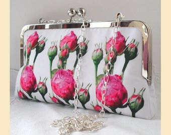 Clutch bag with shoulder chain, pink and white floral evening purse, handmade wedding purse, pink rosebuds
