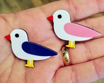 Resin brooch, Seagull brooch, Seaside brooch, Bird brooch, Seagull, Bird, badge