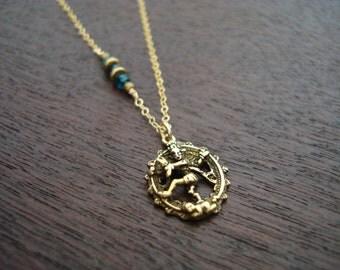 Women's London Blue Topaz Cosmic Dancer Necklace // Plain Necklace Or Choose a Birthstone // Third Eye Chakra, November Birthstone