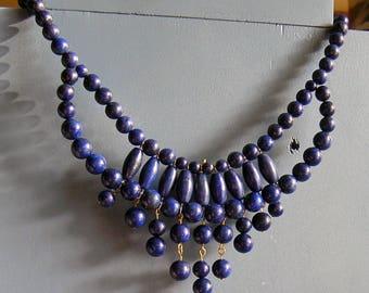 Natural Lapis Lazuli Bib Necklace