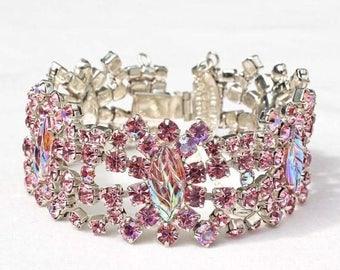 30% OFF SALE - Vintage Inspired Rose and Rose AB Art Glass Leaf Rhinestone Bracelet