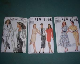 New Look 6060or 6599 or 6092 Misses Uncut Clothing Pattern..1980's..Feminine Ladies Dresses..Full Slim Skirt..Dresses..Suit Patterns