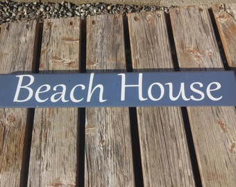 Painted Board Sign,BEACH HOUSE, ocean water sand, Painted Wood, Wall sign, beach house sign, Rustic board sign, Reclaimed Wood Sign, Pallet