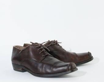 Vintage Brown Real Leather Western Shoes Festival Men's UK 9 EU 43 US 10